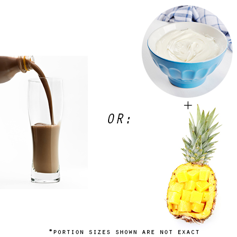 Photo: Diet shake, yogurt, pineapple
