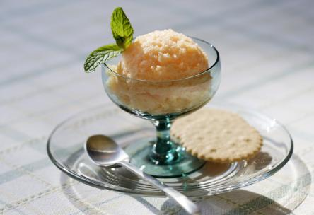 peach and basil sorbet