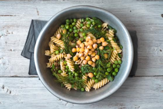 Lemony Fusilli with Chickpeas, Raisins, and Spinach