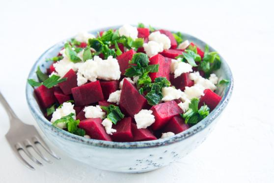 Wheat Berry Bowl with Roasted Beets, Feta, and Mint