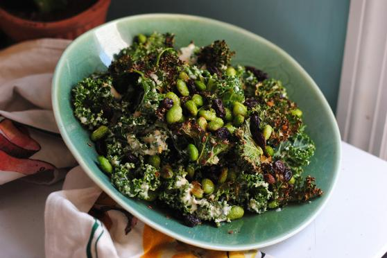 Photo: Crispy Kale Salad with Miso Dressing