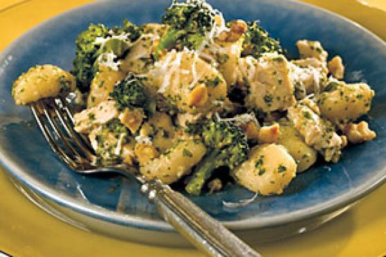 Chicken, Broccoli, and Gnocchi with Parsley Pesto