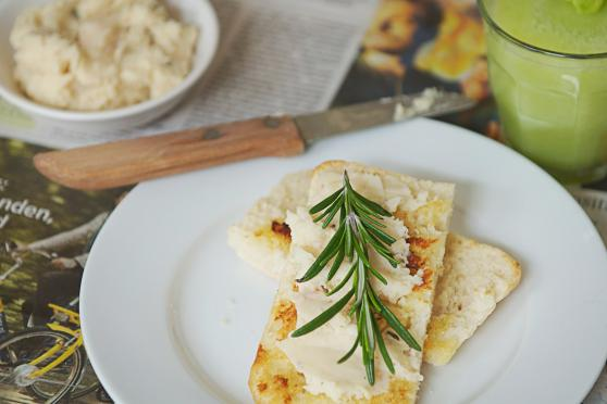 Photo: Rosemary-Garlic White Bean Spread on toasted bread.